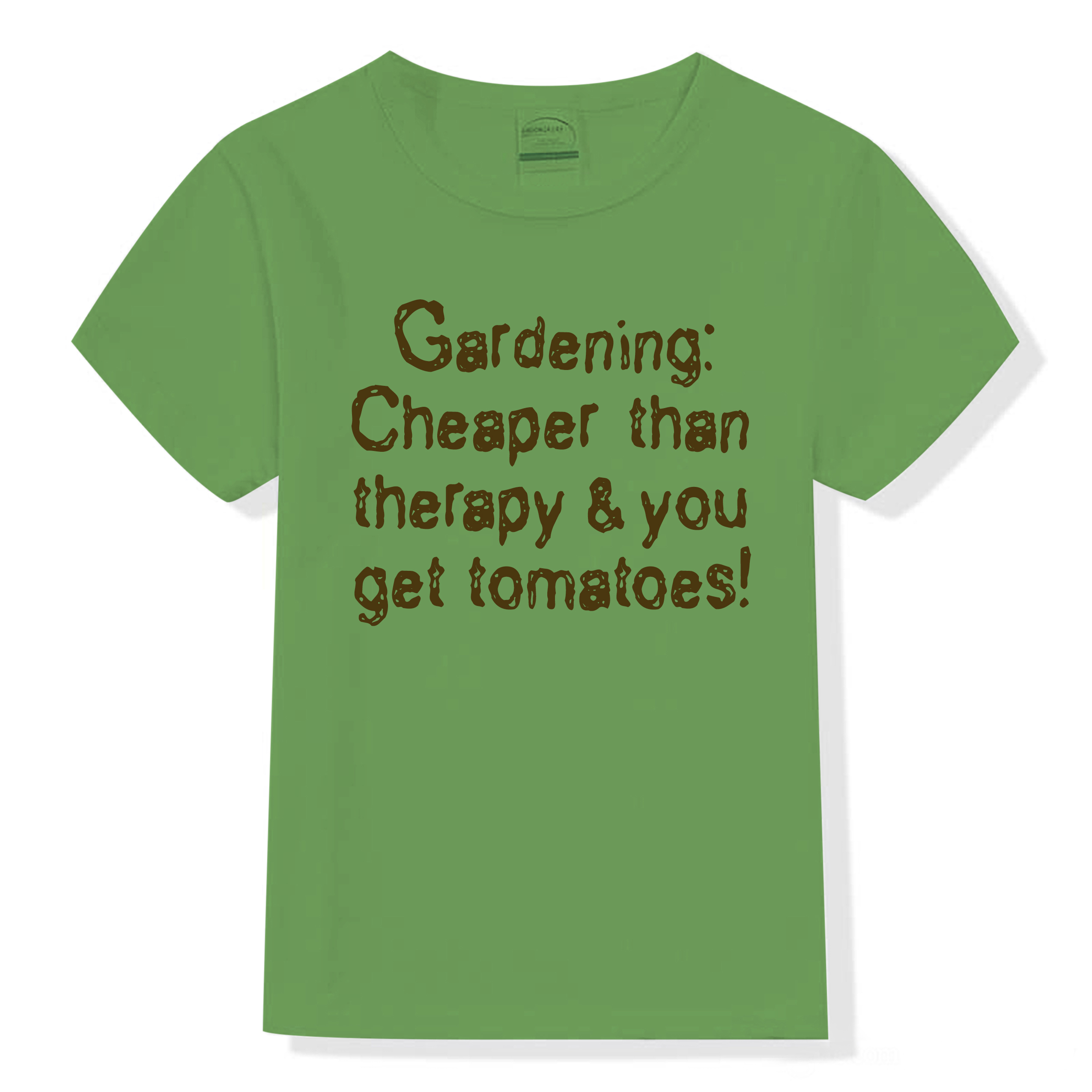 "Garner Grows tee shirt with slogan ""Gardening: Cheaper than therapy & you get tomatoes!"""
