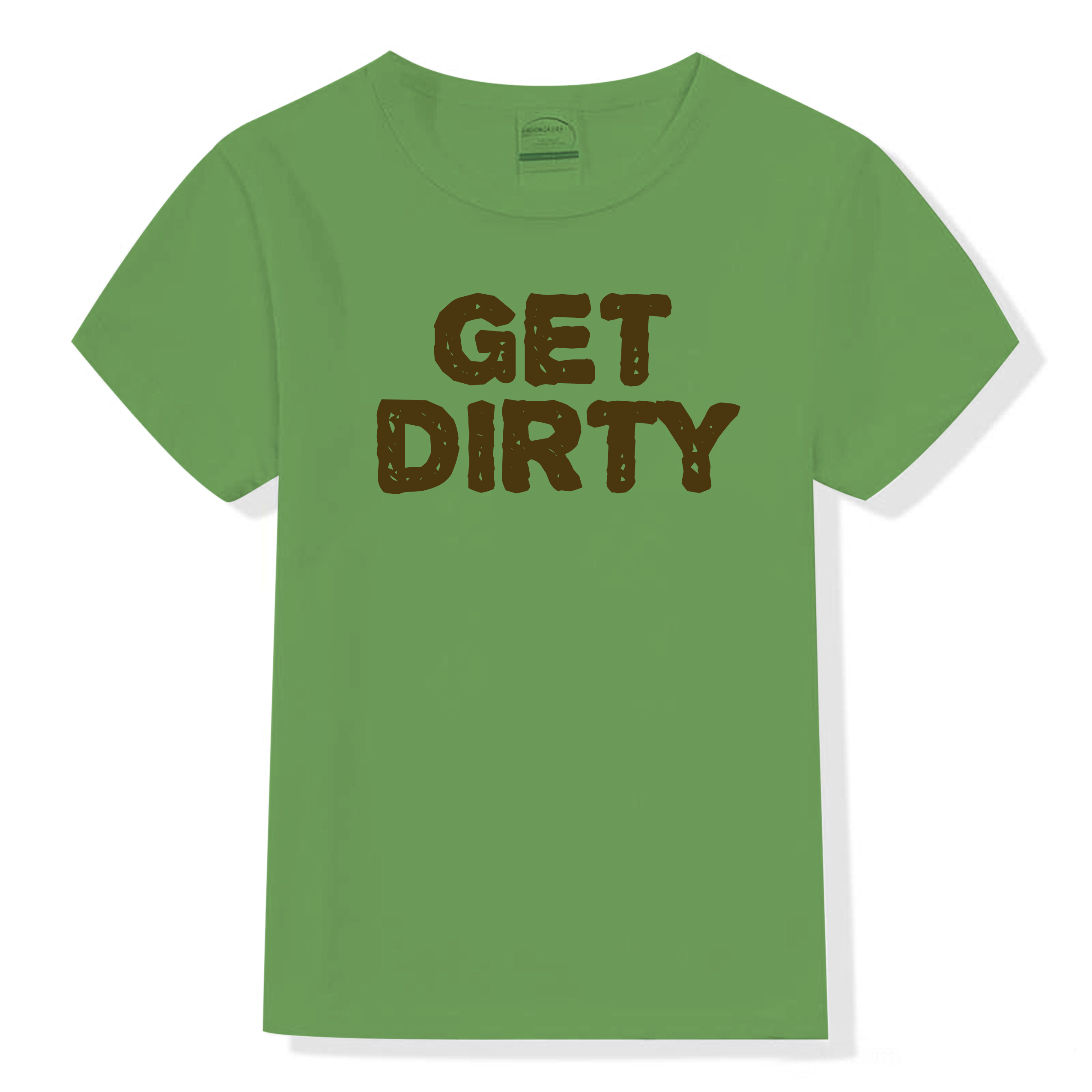 "Garner grows tee shirt with slogan ""Get Dirty"""