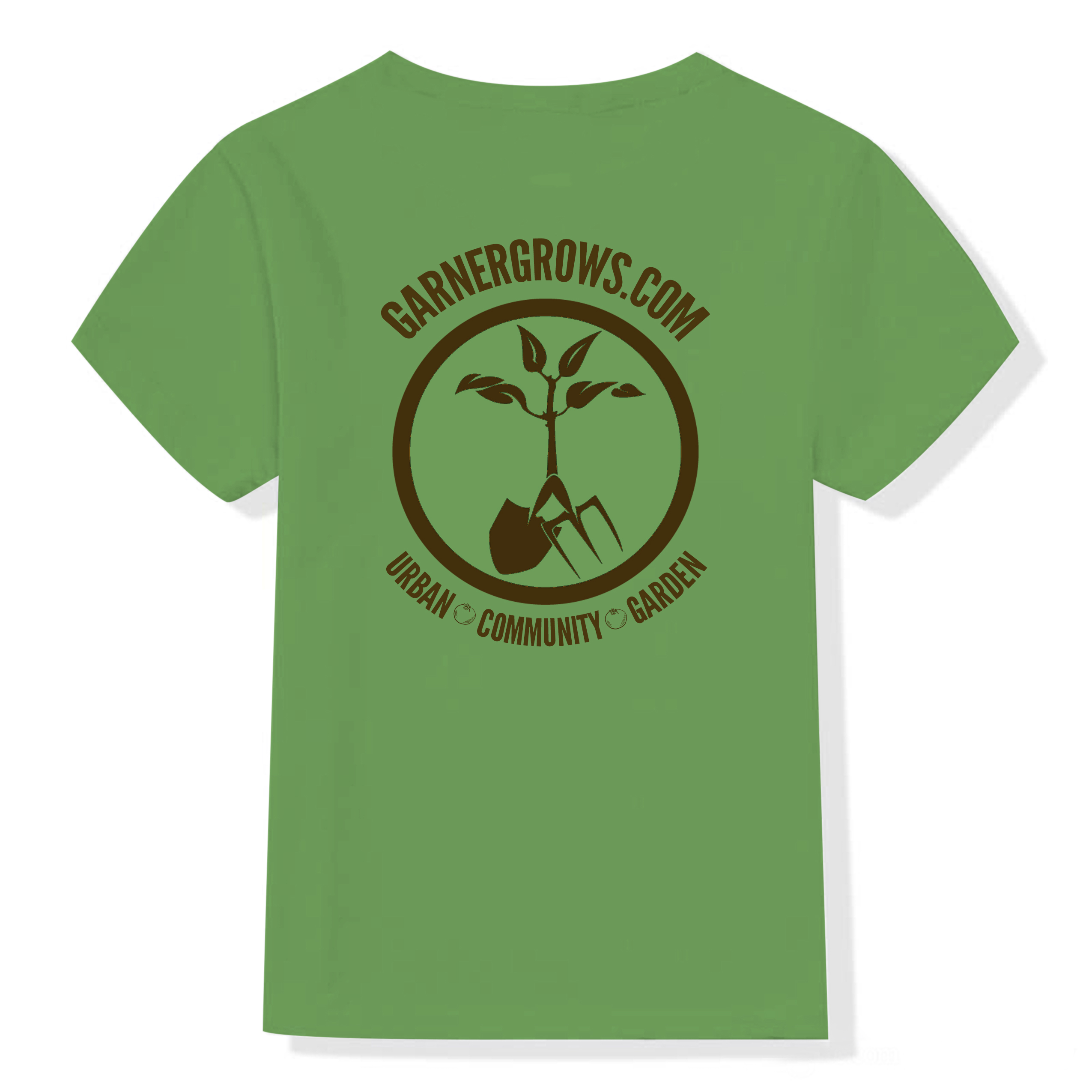 Garner grows green tee shirt the logo image and caption Urban Community Garden
