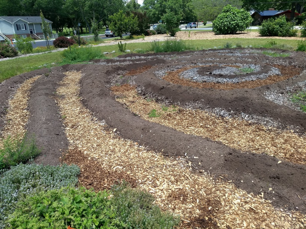 Circular maze design for herb garden